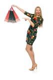 Vrouw in donkergroene bloemendiekleding op wit wordt geïsoleerd Royalty-vrije Stock Fotografie