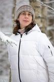 Vrouw in donsachtig jasje Royalty-vrije Stock Afbeelding
