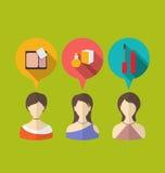Vrouw drie met toespraak en gedachte bellen, vlakke moderne pictogrammen Royalty-vrije Stock Foto's