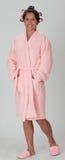 Vrouw in een badjas royalty-vrije stock afbeelding