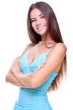 Vrouw in een blauwe kleding Stock Afbeeldingen