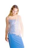 Vrouw in een blauwe kleding stock fotografie