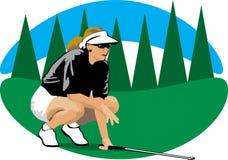 Vrouw in een golfcursus Royalty-vrije Stock Afbeelding