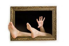 Vrouw in een het schilderen frame royalty-vrije stock foto