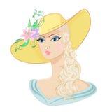 Vrouw in een hoed Royalty-vrije Stock Afbeeldingen