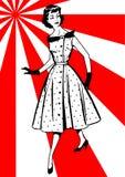 Vrouw in een kleding Stock Foto