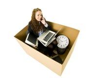 Vrouw in een klein bureau Royalty-vrije Stock Foto