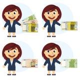 Vrouw in een kostuum en een geld ter beschikking Stock Foto's