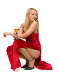 Vrouw in een rode kleding. royalty-vrije stock foto's