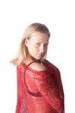 Vrouw in een rode sjaal royalty-vrije stock foto