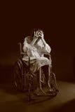 Vrouw in een rolstoel Royalty-vrije Stock Foto's