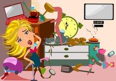 Vrouw in een slordige ruimte stock illustratie