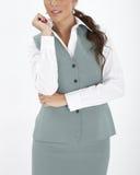 Vrouw in een uitvoerend uniform stock fotografie