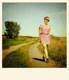 Vrouw in een weg royalty-vrije stock fotografie