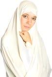 Vrouw in een witte sluier Royalty-vrije Stock Foto's