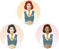 Vrouw in eenvormige de steundeskundige van de luchtstewardess Stock Afbeeldingen