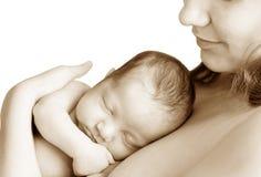 Vrouw en baby Stock Foto's