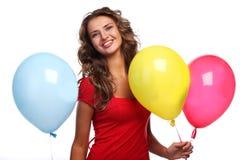 Vrouw en ballons Royalty-vrije Stock Fotografie