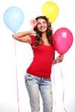 Vrouw en ballons Royalty-vrije Stock Foto's