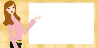Vrouw en banner Stock Afbeelding