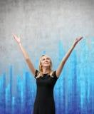Vrouw en blauwe grafiek Stock Foto's