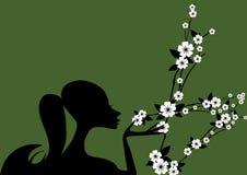 Vrouw en bloem Royalty-vrije Stock Afbeeldingen