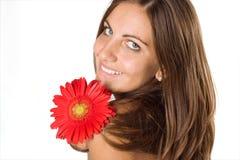 Vrouw en bloem Royalty-vrije Stock Foto's