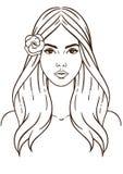 Vrouw en bloem Vector Illustratie