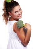 Vrouw en broccoli Royalty-vrije Stock Fotografie