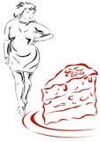 Vrouw en cake Stock Foto