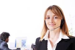 Vrouw en call centre Royalty-vrije Stock Foto