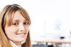 Vrouw en call centre Stock Foto's
