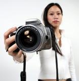 Vrouw en camera Stock Foto