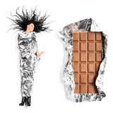 Vrouw en chocolade stock foto's
