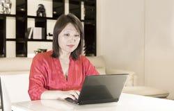 Vrouw en computer Stock Fotografie