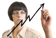 Vrouw en de grafiek van het Succes stock fotografie