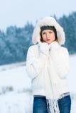 Vrouw en de winter Stock Foto