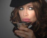 Vrouw en Drank stock afbeelding