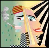 Vrouw en een rokende man Stock Afbeeldingen