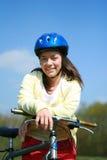 Vrouw en fiets royalty-vrije stock foto's