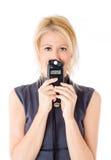 Vrouw en flitsmeter Stock Afbeeldingen
