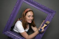 Vrouw en frame Royalty-vrije Stock Fotografie