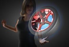 Vrouw en futusistic hologram Royalty-vrije Stock Afbeelding