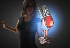 Vrouw en futusistic hologram Stock Afbeelding