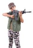 Vrouw en geweer Stock Afbeelding