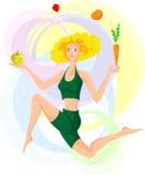 Vrouw en gezonde het leven stijl Royalty-vrije Stock Afbeelding