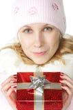 Vrouw en gift-doos Stock Afbeeldingen