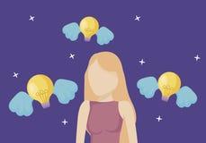 Vrouw en gloeilampen met vleugels stock illustratie