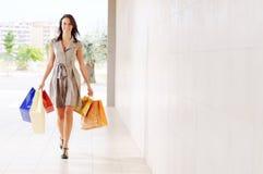 Vrouw en het winkelen Royalty-vrije Stock Foto