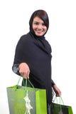 Vrouw en het winkelen zak Stock Afbeeldingen